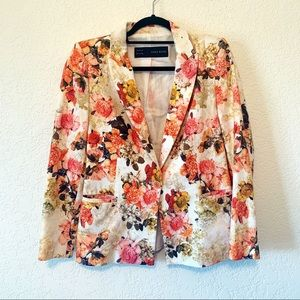 Zara Floral 100% Cotton Blazer